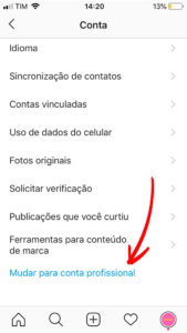 Como mudar sua conta no Instagram para comercial - passo 4