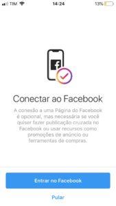 Como mudar sua conta no Instagram para comercial - facebook